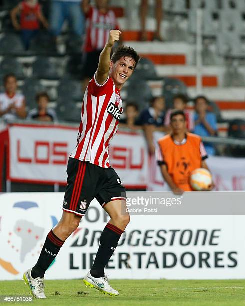 Guido Carrillo of Estudiantes celebrates after scoring the first goal of his team during a match between Estudiantes and Libertad as part of Copa...