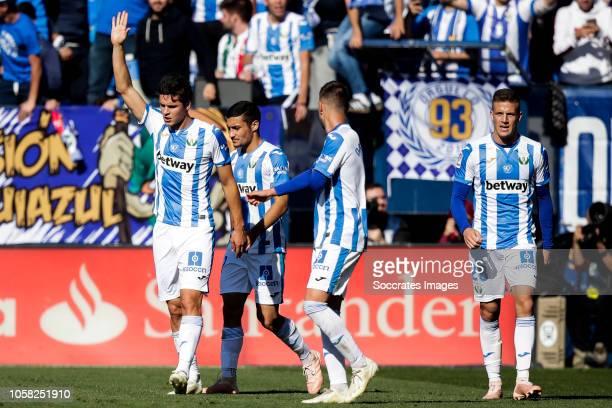 Guido Carrillo of Leganes Rodrigo Tarin of Leganes during the La Liga Santander match between Leganes v Atletico Madrid at the Estadio Municipal de...