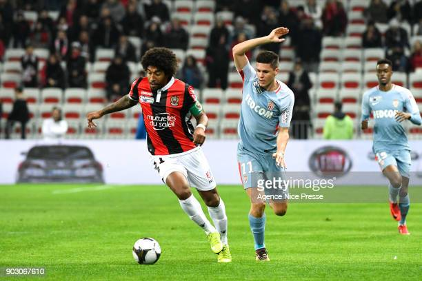 Guido Carrillo of Monaco and Dante of Nice during the League Cup match between Nice and Monaco at Allianz Riviera Stadium on January 9 2018 in Nice...