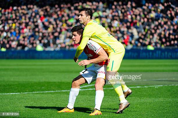 Guido Carrillo of Monaco and Lorik Cana of Nantes during the French Ligue 1 game FC Nantes v AS Monaco at Stade de la Beaujoire on February 28 2016...
