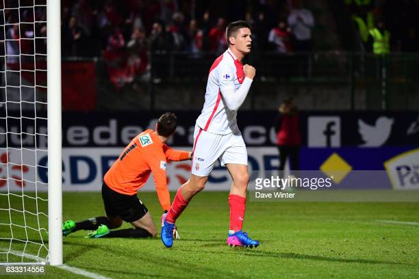 Guido Carrillo of Monaco celebrates after he puts his side 10 ahead during the French National Cup match between Chambly and AS Monaco Round of 32 on...
