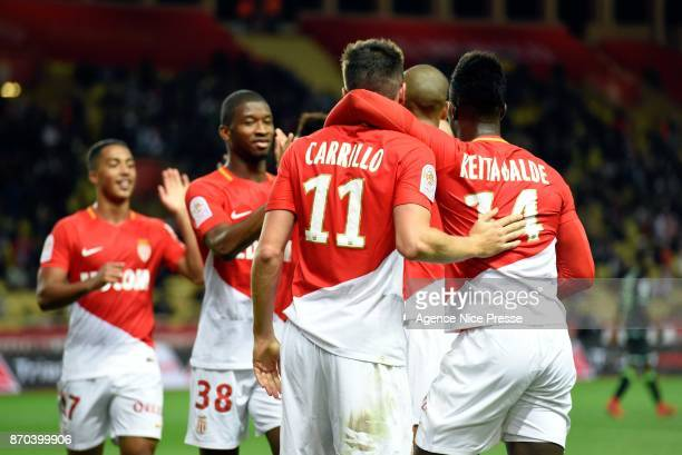 Guido Carrillo of Monaco celebrates his goal with teammates Keita Balde during the Ligue 1 match between AS Monaco and EA Guingamp at Stade Louis II...