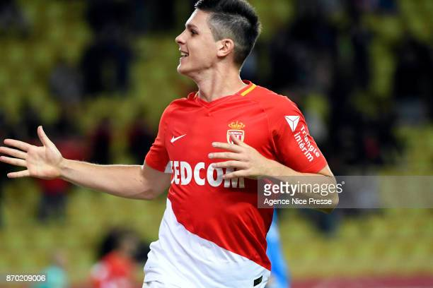 Guido Carrillo of Monaco celebrates his second goal during the Ligue 1 match between AS Monaco and EA Guingamp at Stade Louis II on November 4 2017...