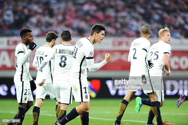 Guido CARRILLO of Monaco celebrates scoring his goal during the Ligue 1 match between Dijon FCO and AS Monaco at Stade Gaston Gerard on November 30...