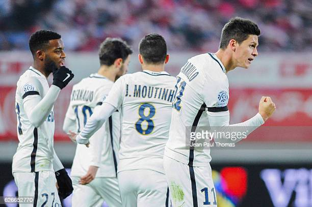 Guido CARRILLO of Monaco celebrates scoring his goal during the Ligue 1 match between Dijon FCO and AS Monaco at Stade Gaston Gerard on November 29...