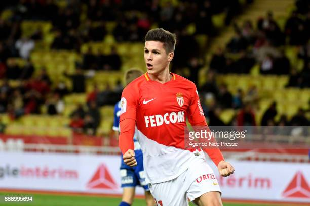 Guido Carrillo of Monaco celebrates scoring his goal during the Ligue 1 match between AS Monaco and Troyes Estac at Stade Louis II on December 9 2017...