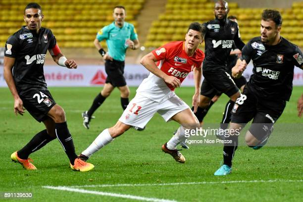 Guido Carrillo of Monaco during the french League Cup match Round of 16 between Monaco and Caen on December 12 2017 in Monaco Monaco