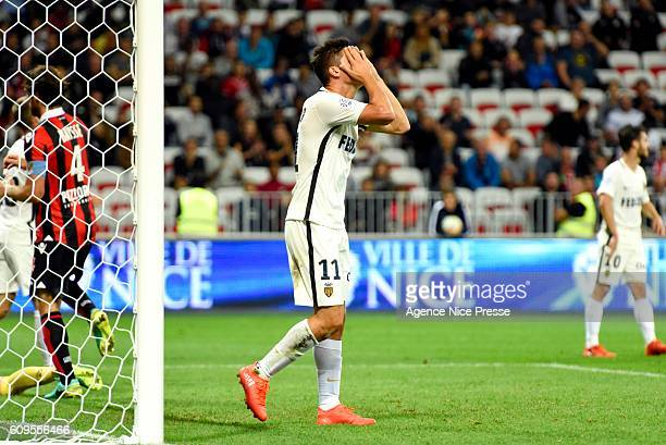Guido Carrillo of Monaco during the Ligue 1 match between OGC Nice and AS Monaco at Allianz Riviera on September 21 2016 in Nice France