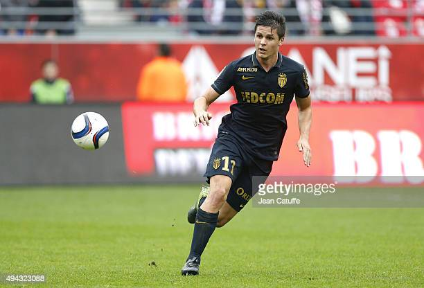 Guido Carrillo of Monaco in action during the French Ligue 1 match between Stade de Reims and AS Monaco at Stade Auguste Delaune on October 25 2015...