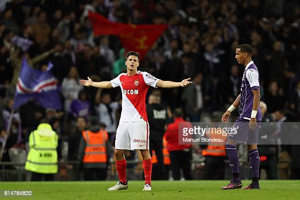 Guido Carrillo of Monaco looks dejected during the Ligue 1 match between Toulouse FC and AS Monaco at Stadium Municipal on October 14 2016 in...