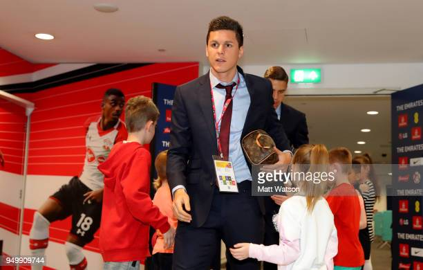 Guido Carrillo of Southampton ahead of the Emirates FA Cup SemiFinal between Chelsea and Southampton at Wembley Stadium on April 22 2018 in London...