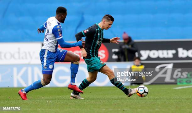 Guido Carrillo of Southampton during the FA Cup Quarter Final match between Wigan Athletic and Southampton FC at the DW Stadium on March 18 2018 in...