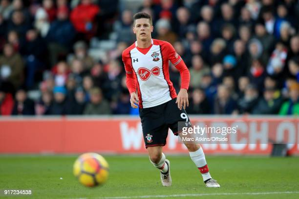 Guido Carrillo of Southampton during the Premier League match between Southampton and Liverpool at St Mary's Stadium on February 11 2018 in...