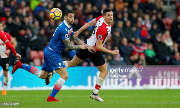 Guido Carrillo of Southampton during the Premier League match between Southampton and Stoke City at St Mary's Stadium on March 3 2018 in Southampton...