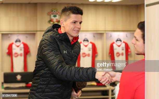 Guido Carrillo of Southampton FC ahead of the FA Cup 4th round match between Southampton FC and Watford at St Mary's Stadium on January 27 2018 in...