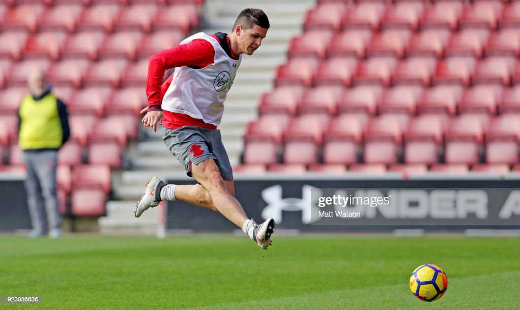 Guido Carrillo of Southampton FC during a training session at St. Mary's Stadium on February 22, 2018 in Southampton, England.