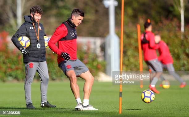 Guido Carrillo of Southampton FC during a training session at the Staplewood Campus on January 30 2018 in Southampton England