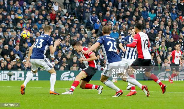 Guido Carrillo of Southampton FC heads at goal during the Premier League match between West Bromwich Albion and Southampton at The Hawthorns on...