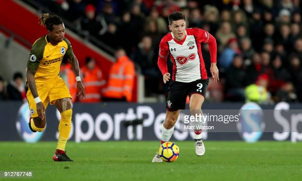 Guido Carrillo of Southampton FC in action during the Premier League match between Southampton and Brighton and Hove Albion at St Mary's Stadium on...