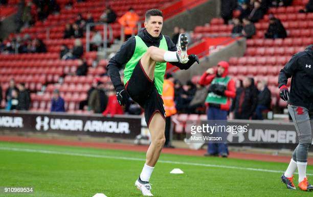 Guido Carrillo of Southampton FC warms up ahead of the FA Cup 4th round match between Southampton FC and Watford at St Mary's Stadium on January 27...
