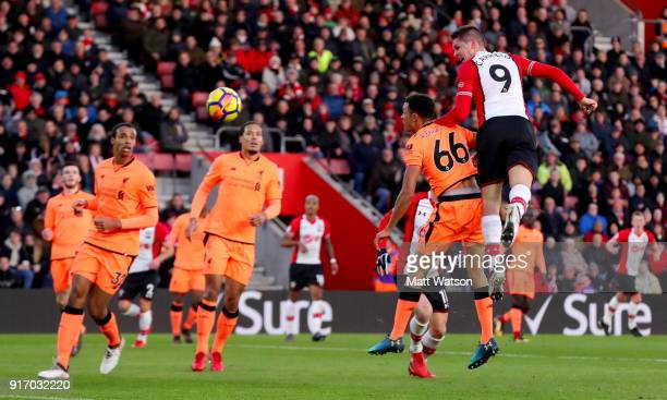 Guido Carrillo of Southampton heads at goal during the Premier League match between Southampton and Liverpool at St Mary's Stadium on February 11...