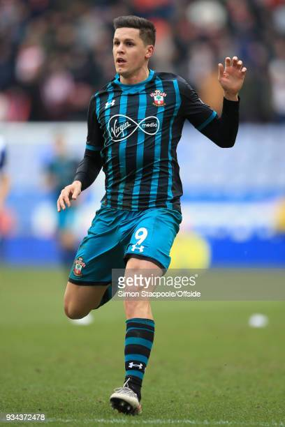 Guido Carrillo of Southampton in action during The Emirates FA Cup Quarter Final match between Wigan Athletic and Southampton at the DW Stadium on...