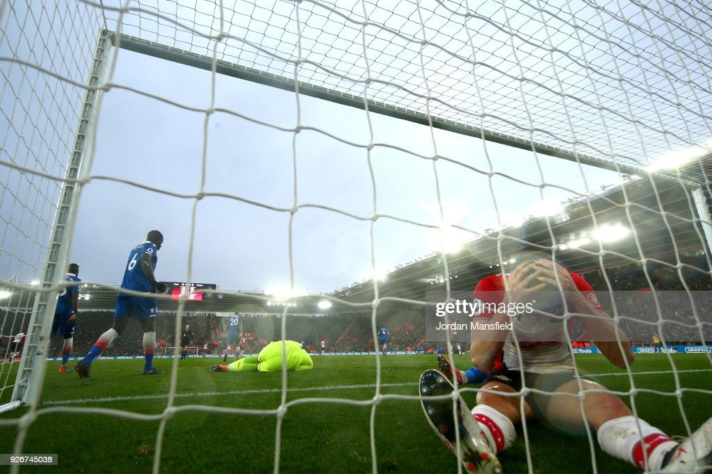 Guido Carrillo of Southampton looks dejected following a missed chance during the Premier League match between Southampton and Stoke City at St Mary's Stadium on March 3, 2018 in Southampton, England.