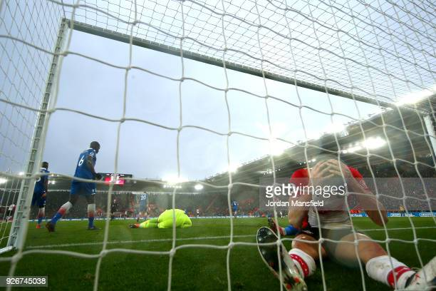 Guido Carrillo of Southampton looks dejected following a missed chance during the Premier League match between Southampton and Stoke City at St...