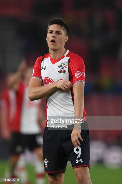 Guido Carrillo of Southampton makes his debut during The Emirates FA Cup Fourth Round match between Southampton and Watford at St Mary's Stadium on...