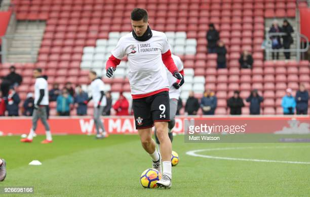 Guido Carrillo of Southampton warms up ahead of the Premier League match between Southampton and Stoke City at St Mary's Stadium on March 3 2018 in...