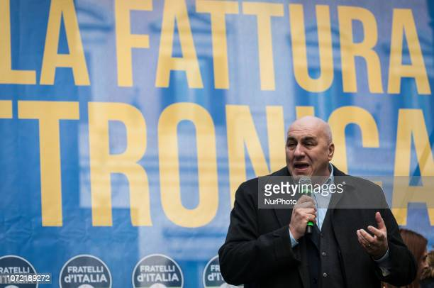 Guido Corsetto Fratelli d'Italia speaks during the demonstration against the electronic invoicing on December 12 2018 in Rome ItalyGuido Corsetto and...
