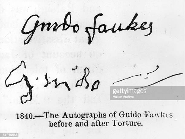 1606 Guido Fawkes signature before and after torture