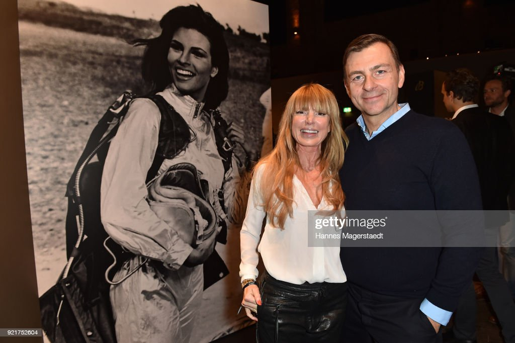 Guido Kellermann and his wife Casha Kellermann during the Breitling Roadshow '#LEGENDARYFUTURE' Navitimer 8 at Freiheizhalle on February 20, 2018 in Munich, Germany.