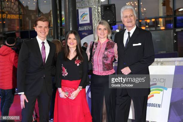 Guido Knopp and his wife Gabriella Knopp and his daughter Katharina and his son Christopher Knopp during the Radio Regenbogen Award 2018 at...