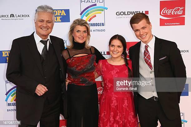 Guido Knopp, Gabriella Knopp and children attend the Radio Regenbogen Award 2013 at Europapark on April 19, 2013 in Rust, Germany.