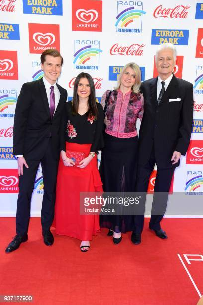 Guido Knopp, his wife Gabriella Knopp, their daughter Katharina Knopp and their son Christopher Knopp attend the Radio Regenbogen Award 2018 on March...