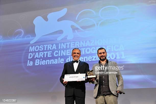 Guido Lombardi of La Bas A Criminal Education accepts Lion of the Future Luigi De Laurentiis Venice Award For A Debut Film during the Closing...