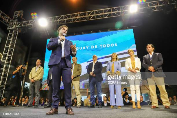 Guido Manini Rios, Luis Lacalle, Pablo Mieres, Edgardo Novick, Beatriz Argimon and Lorena Ponce de Leon are seen during the event. This Sunday the...