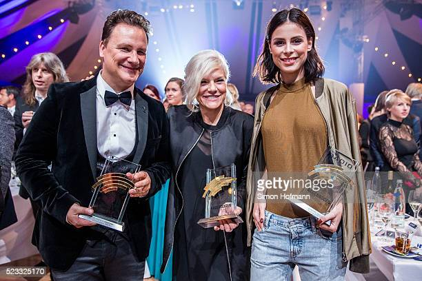 Guido Maria Kretschmer Ina Mueller and Lena MeyerLandrut attend the Radio Regenbogen Award 2016 at Europapark on April 22 2016 in Rust Germany