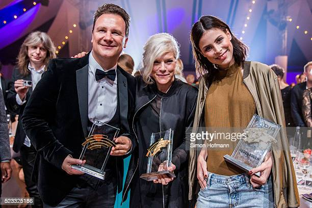 Guido Maria Kretschmer Ina Mueller and Lena MeyerLandrut pose with their awards at the Radio Regenbogen Award 2016 at Europapark on April 22 2016 in...