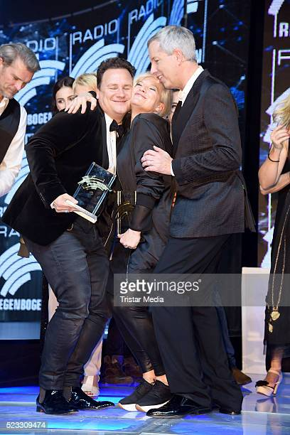 Guido Maria Kretschmer Ina Mueller and Thomas Hermanns pose during the Radio Regenbogen Award 2016 After Show Party on April 22 2016 in Rust Germany