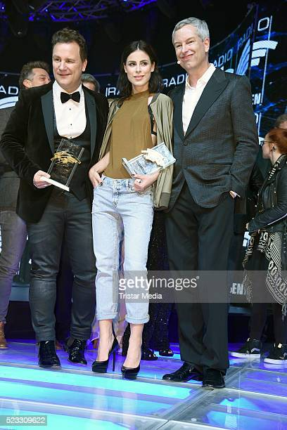 Guido Maria Kretschmer Lena Meyer Landrut and Thomas Hermanns pose during the Radio Regenbogen Award 2016 After Show Party on April 22 2016 in Rust...