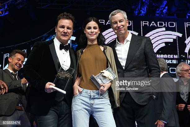 Guido Maria Kretschmer Lena MeyerLandrut and Thomas Hermanns during the Radio Regenbogen Award 2016 at Europapark Rust on April 22 2016 in Rust...