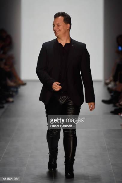 Guido Maria Kretschmer walks the runway at the Guido Maria Kretschmer show during the MercedesBenz Fashion Week Spring/Summer 2015 at Erika Hess...