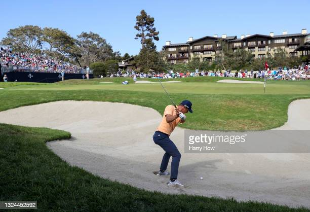 Guido Migliozzi of Italy plays a shot from a bunker on the 18th hole during the third round of the 2021 U.S. Open at Torrey Pines Golf Course on June...