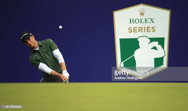 Guido Migliozzi of Italy plays a shot on the 18th hole during Day 1 of the Aberdeen Standard Investments Scottish Open at The Renaissance Club on...