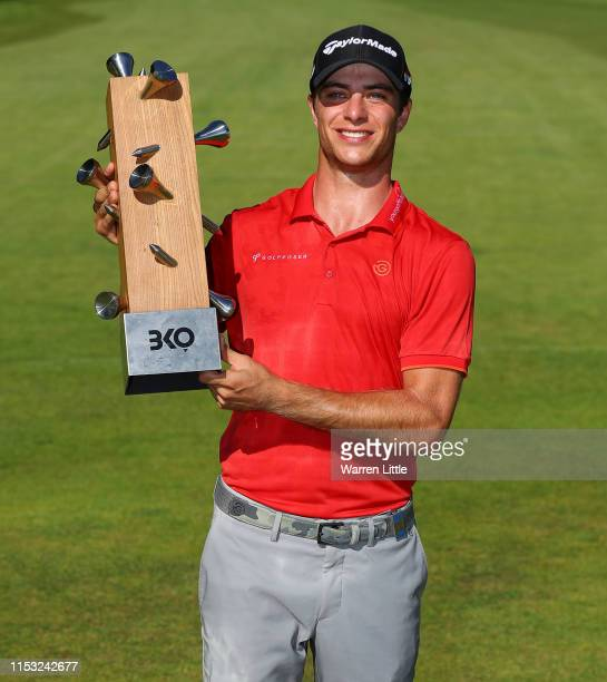 Guido Migliozzi of Italy poses with the trophy after winning the Belgian Knockout at Rinkven International GC on June 02, 2019 in Antwerpen, Belgium.