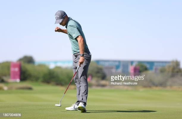 Guido Migliozzi of Italy reacts to a putt on the 18th hole during Day Four of the Commercial Bank Qatar Masters at Education City Golf Club on March...