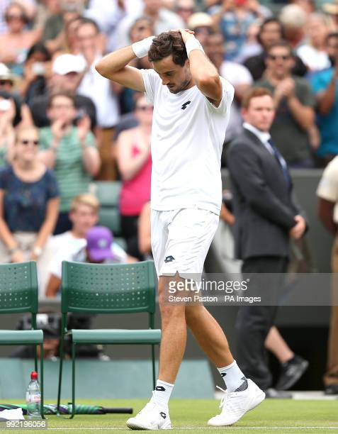 Guido Pella celebrates his win against Marin Cilic on day four of the Wimbledon Championships at the All England Lawn Tennis and Croquet Club...