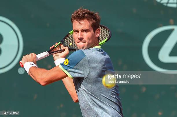 Guido Pella hits a return shot during his match against Sam Querrey during the 2018 US Men's Clay Court Tennis Championships on April 11 2018 at...